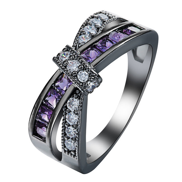 Hainon Pink Cross Ring for women Fashion White & Black Gold Filled Jewelry Wedding Engagement Rings luxury Purple Zircon
