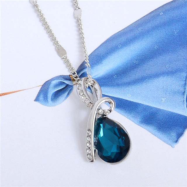 Silver Plated Crystal Pendant Necklace with Water Drop Charm