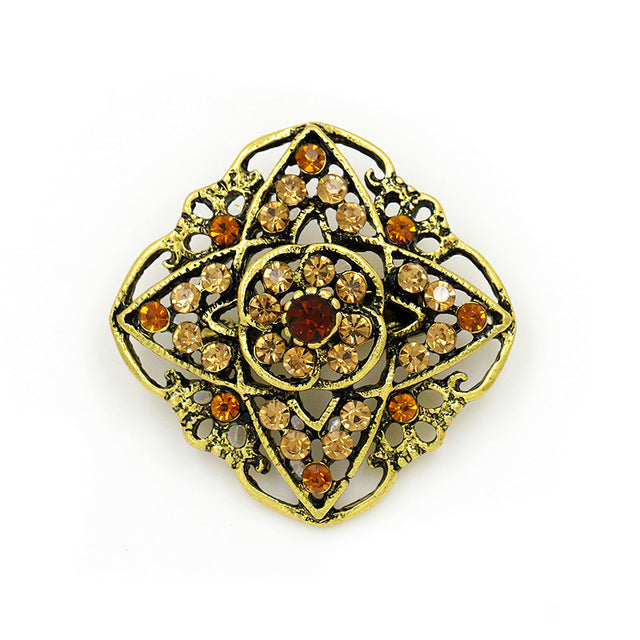 WEIMANJINGDIAN Brand Vintage Gold Color Plated Crystal Rhinestones Flower Antique Brooch Pins for Women in Assorted