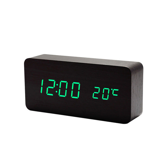 Wooden LED Digital Alarm Clock with Temperature
