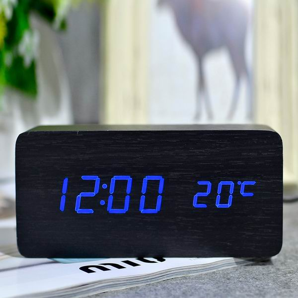 Suncree Wooden LED Alarm Clock Display Date+Time+Celsius/Fahrenheit Temperature Sound Control Function A Table Desktop Clocks
