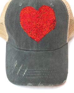 Blink Blink Red Heart Trucker Hat