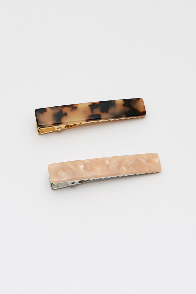 Hair Clip Set-Peach & Tortoiseshell