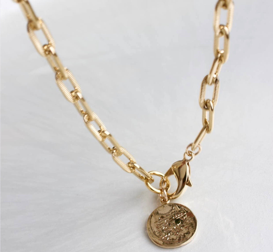 Vintage Coin Gold Plated Necklace