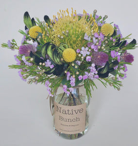 native flower posy by Native Bunch yellow pincushion, yellow billy buttons, purple waxflower Dee Why florist native flower delivery northern beaches