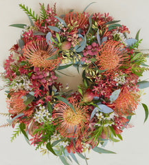 Native flower wreath by Native Bunch. We deliver to Sydney northern beaches Manly Balgowlah Brookvale Dee Why Mona Vale Newport Banksia, Proteas and more