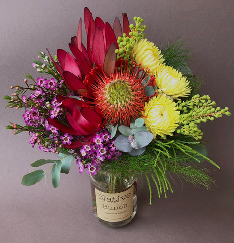 Native flowers $30 Posy Banksia, Strawflowers, Waxflower, Berzelia, Leucadendron