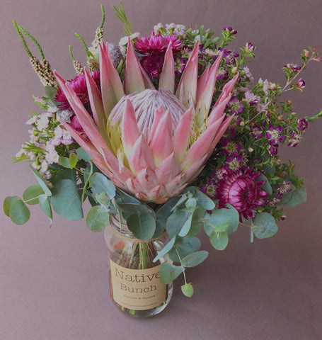 Native Bunch delivering Native flowers Sydney Posy $30 king Protea, Strawflowers, Waxflower