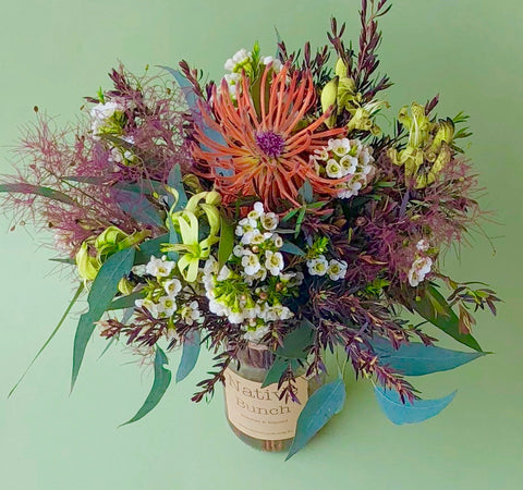 Native Bunch delivering native flowers to Sydney Posy $30- free delivery! Smokebush, Waxflower & Kangaroo paw