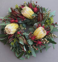 Native flower delivery Sydney Northern Beaches Sydney North Shore flower delivery Proteas, Leucadendrons Banksias flower Wreath