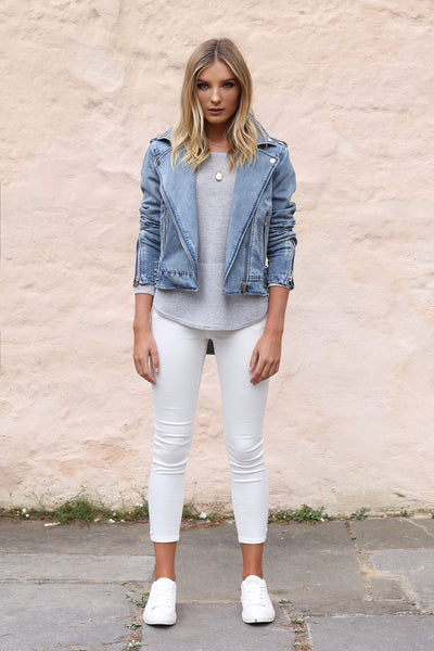 Avery Denim Biker Jacket