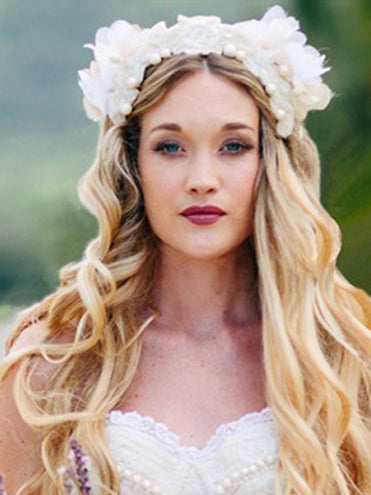 Beaded Creme Flower Wedding Headpiece