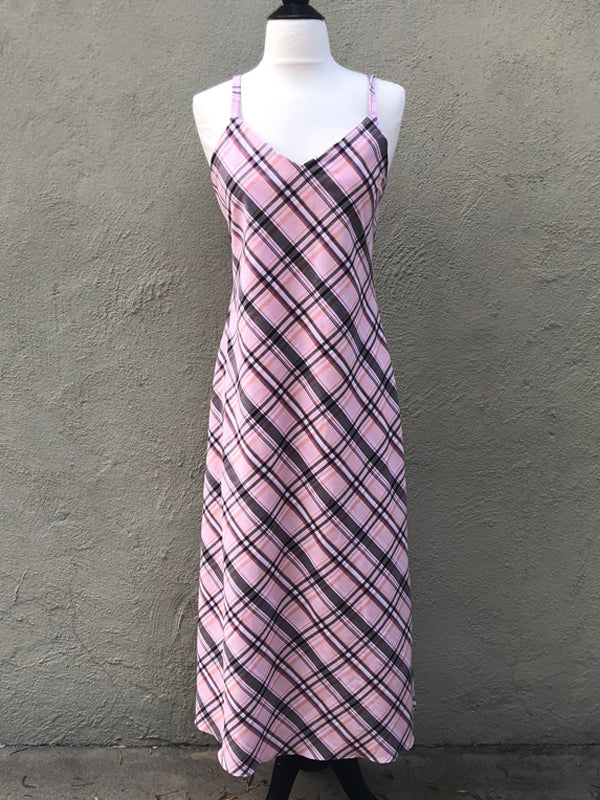 Pink Plaid Bias Slipdress