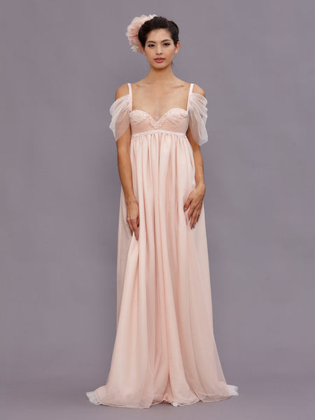 Guinevere Blush Empire Wedding Gown