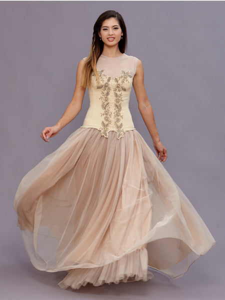 Irene Gold Beaded Wedding Gown