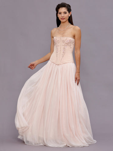 Myrna Beaded Blush Wedding Gown
