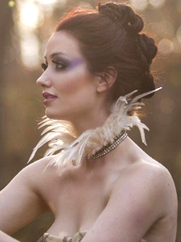 Beaded Creme Feather Steampunk Neckpiece
