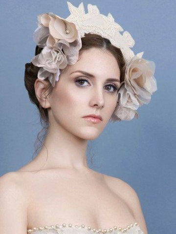 Beaded Blush Flower Wedding Headpiece