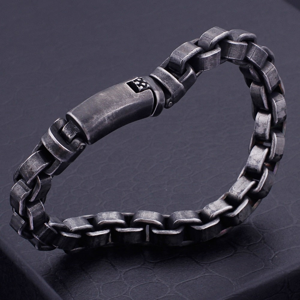 Rustic Steel Box Chain Bracelet