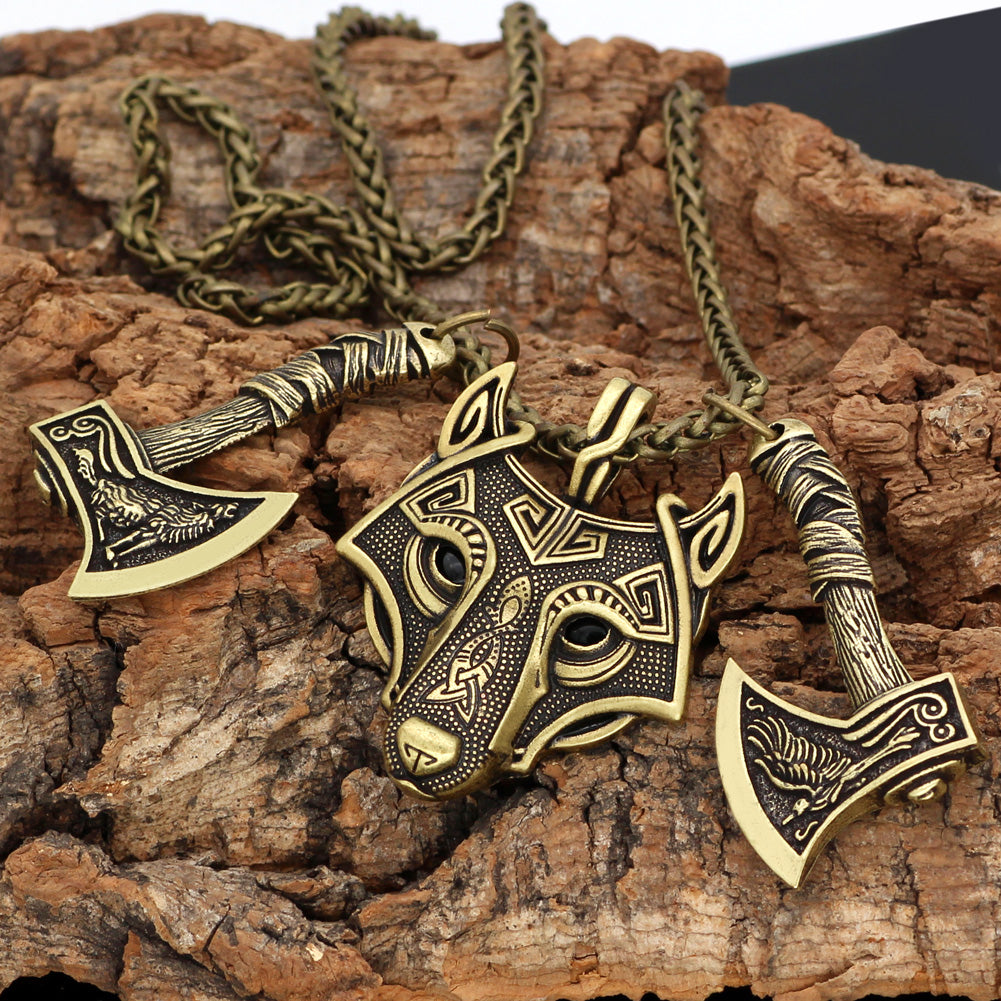 Viking Wolf Necklace With Nordic Axes