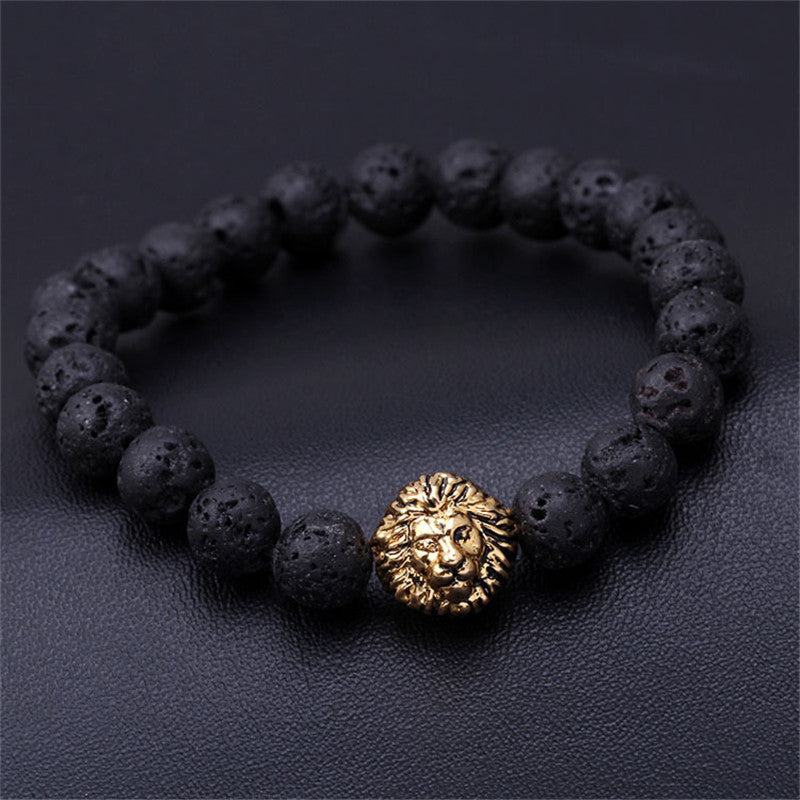 Golden Lion Marble Bead Bracelet