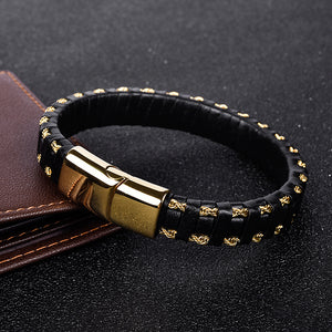 Wire Strip Leather Bracelet