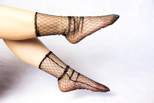 Diamond Mesh Slip Socks in Hepburn