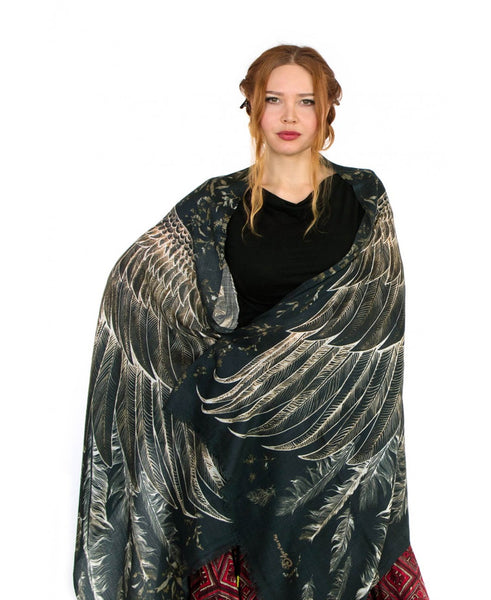 Black Wings Bird Scarves by Shovava