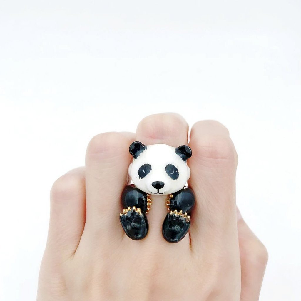 Adjustable Three-Piece Panda Ring - My Modern Met Store