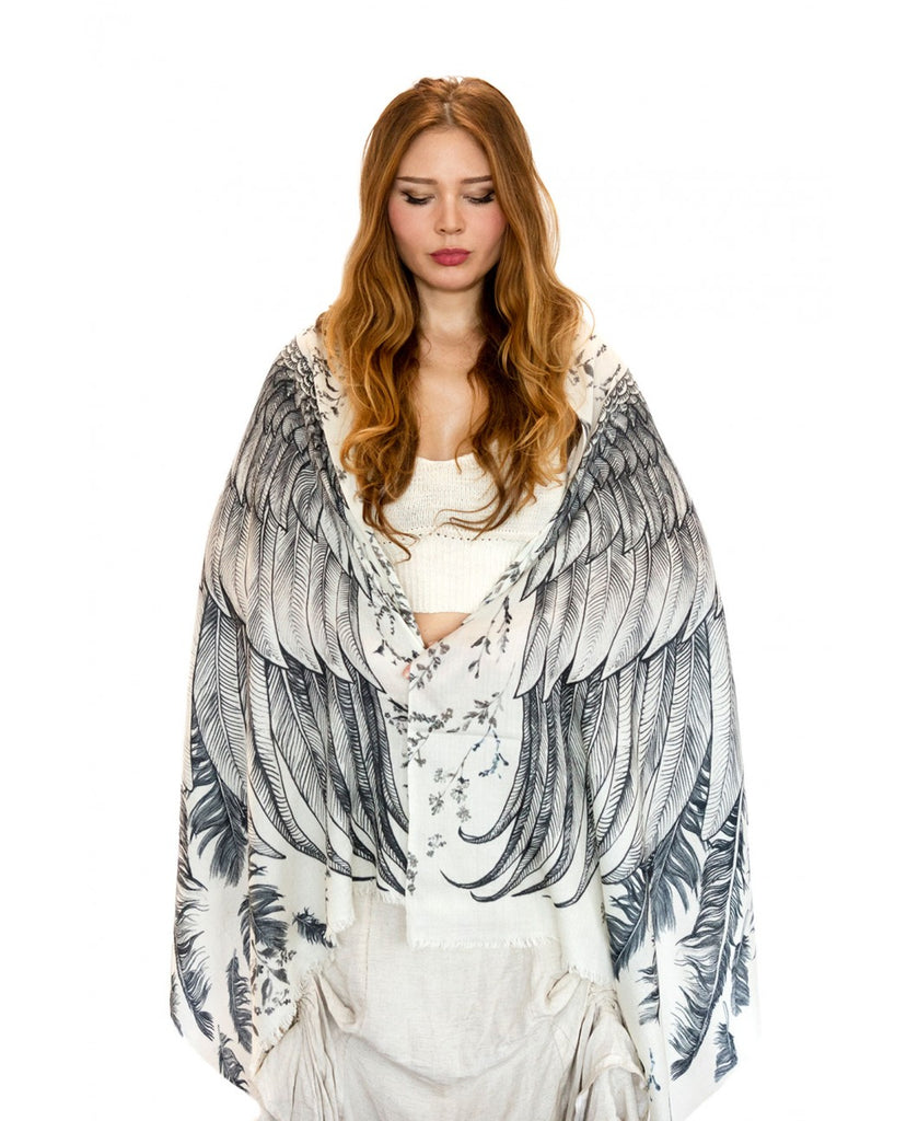 White Wing Bird Scarf by Shovava