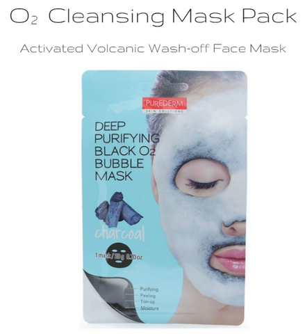 PUREDERM - Deep Purifying Black O2 Bubble Mask (Charcoal) 20g