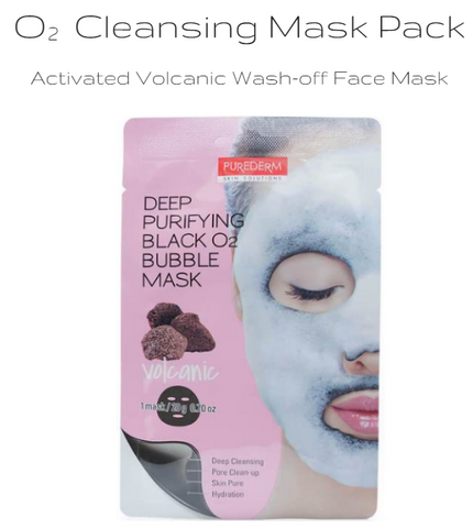 PUREDERM - Deep Purifying Black O2 Bubble Mask (Volcanic) 20g
