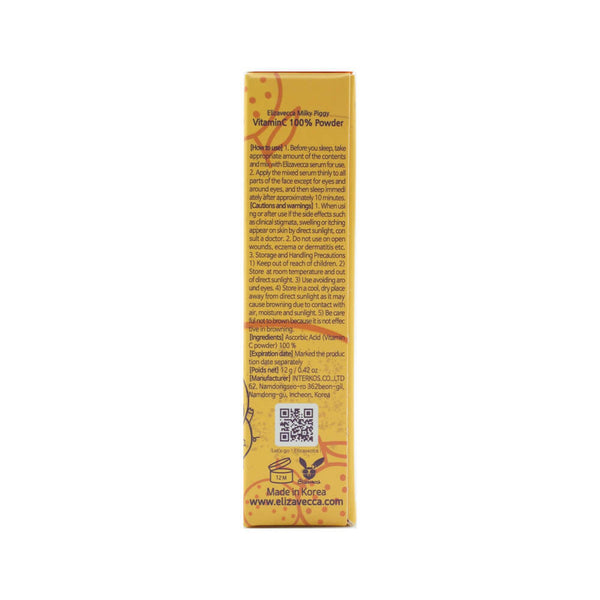 Elizavecca Vitamin C 100% Powder box side 2