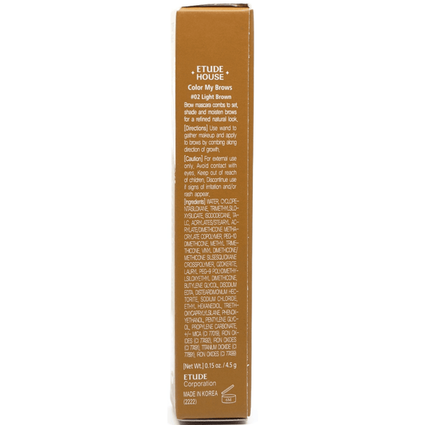 Etude House - Colour My Brows 4.5g (#02 Light Brown) side information on package