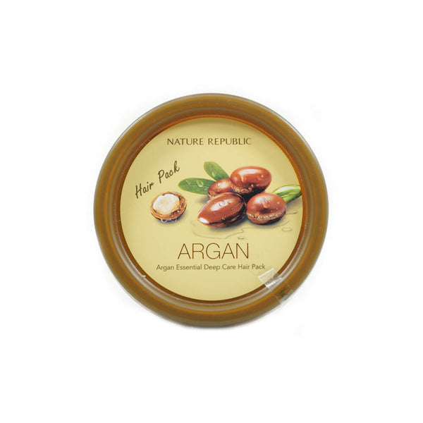 Nature Republic Argan Essential Deep Care Hair Pack 200ml lid