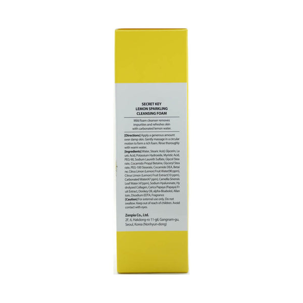 Secret Key Lemon Sparkling Cleansing Foam 120g box side 2