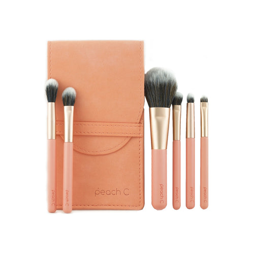 peach C Daily Mini Makeup Brush Set 6pcs