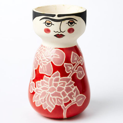 Frida Face Vase - Rosy Red.