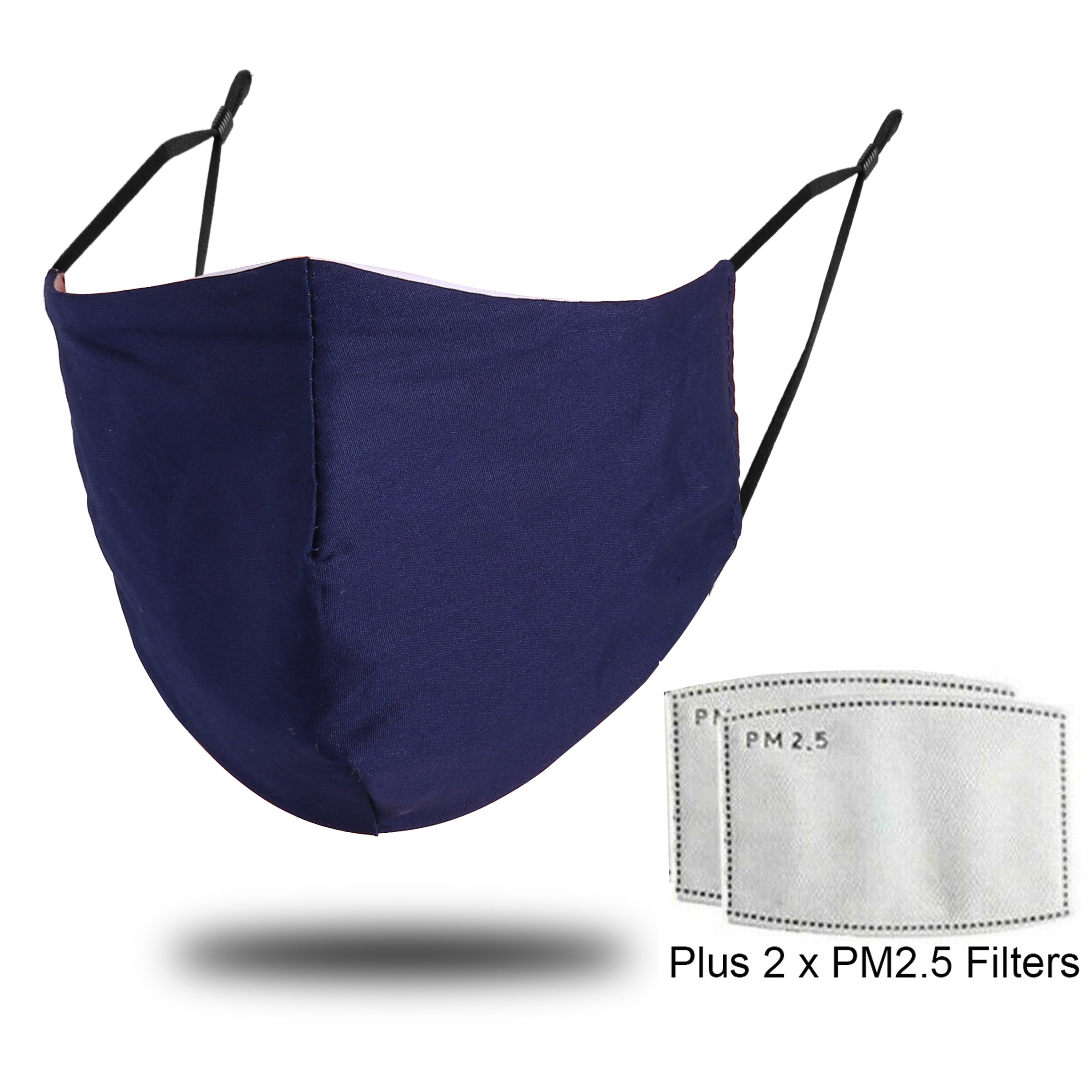 Cotton Face Mask With Filter - Navy Blue