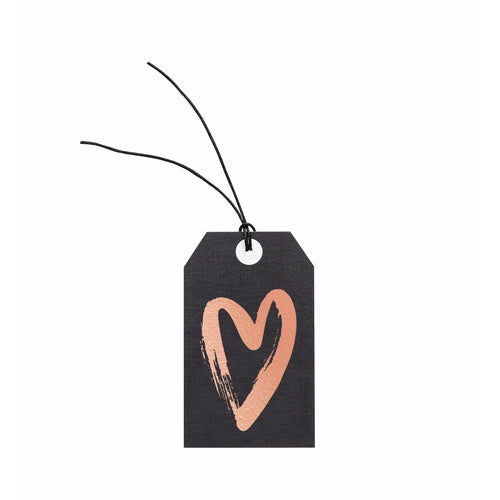 Gift Tag - Foil Heart on Charcoal