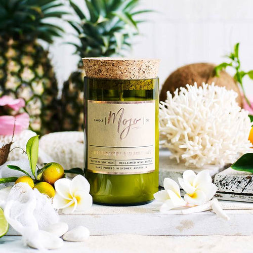 Wine Bottle Candle - Sweet Tagrnerine & Island Fruits