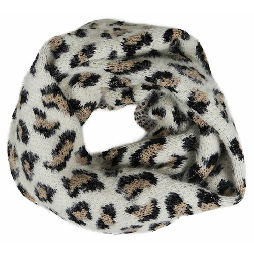 Leopard Snood Scarf - Snow