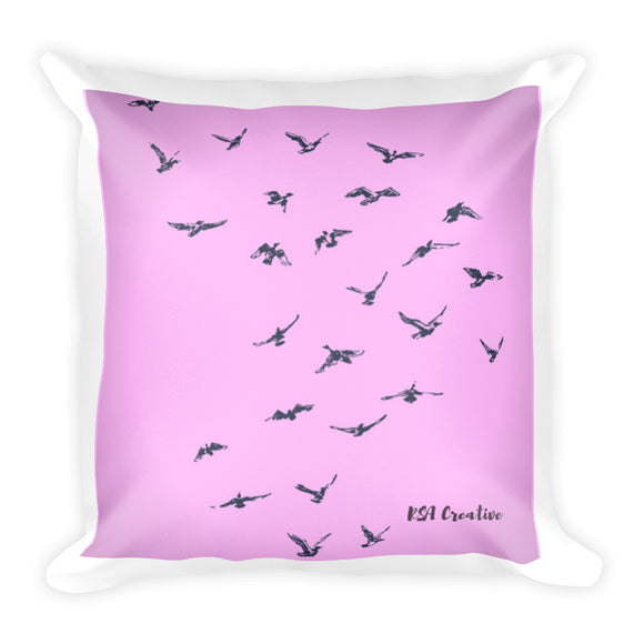 Square Pillow with Bird Graphic Design