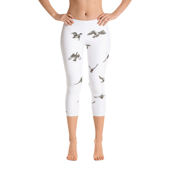 Capri Leggings with Bird Graphic Design