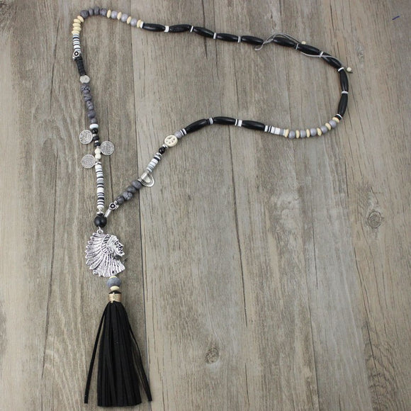 Women'sTassel Gem Resin Boho Vintage Necklace & Pendant