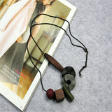 New Vintage Bohemian Woman Necklace Geometric Wood Charm Pendant Long Sweater Snake Chain Necklace Fashion Clothes Accessories