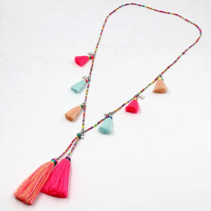 Women's Bohemian Handmade Colorful Strand Tassel Pendant Necklace