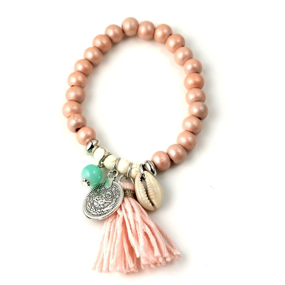 Women's Bohemian Shell Charm Tassel Glass Beaded Bracelet
