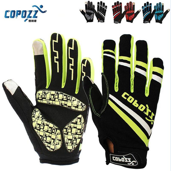Copozz Brand New Gel Full Finger touch screen bike cycling gloves anti-skip shockproof breathable bicycle MTB sports gloves