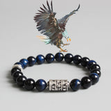 Eastisan Blue Eagle Eye Stone Beads With Tibetan Buddhism Mantra Totem Charm Bracelet For Man Woman Om Mani Padme Hum Jewelry